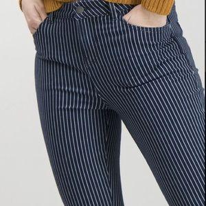 Zara Pin Striped Distressed Jeans